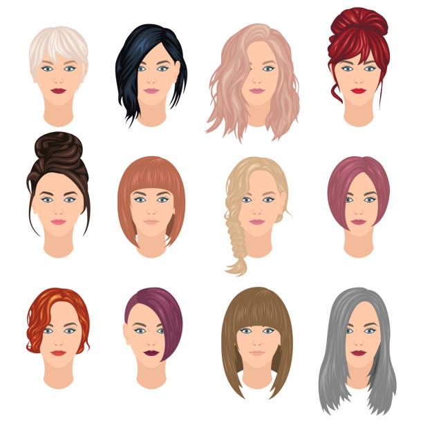 stockillustraties, clipart, cartoons en iconen met trendy vrouw kapsels - golvend haar