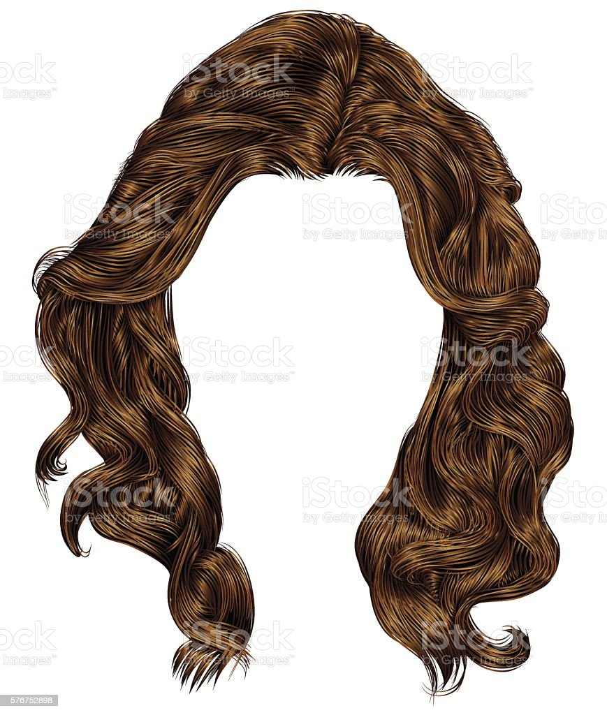 trendy woman long curly  hairs  brown colors . fashion beauty style . vector art illustration