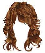trendy woman long hairs red  colors .  beauty fashion .  realistic 3d