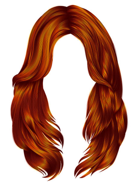 trendy woman long hairs red ginger colors .  beauty fashion .  r - redhead stock illustrations
