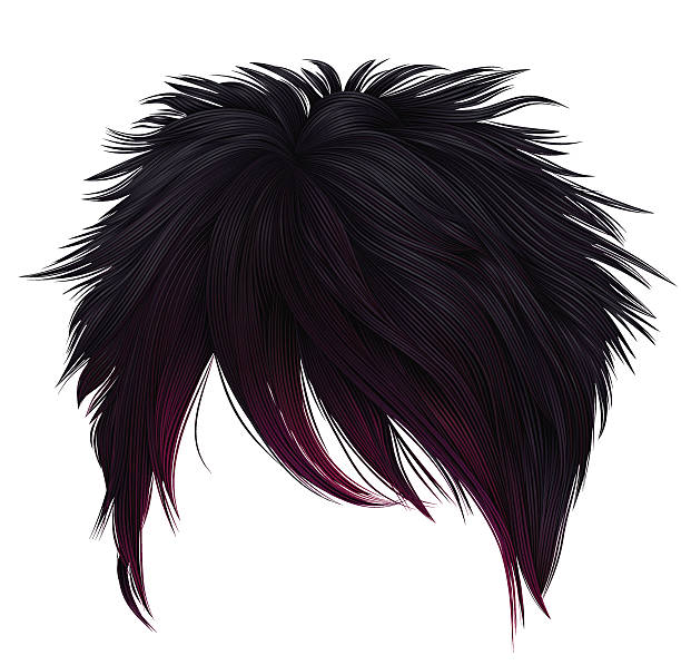 trendy woman short  hairs  black pink  colors .  fashion beauty style . - 가발 stock illustrations