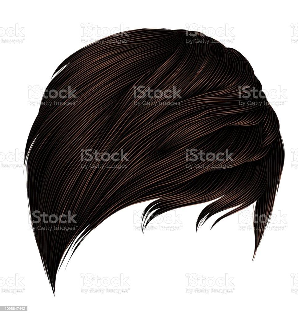 Trendige Frau Kurze Haare Braune Colorsfringe Mode