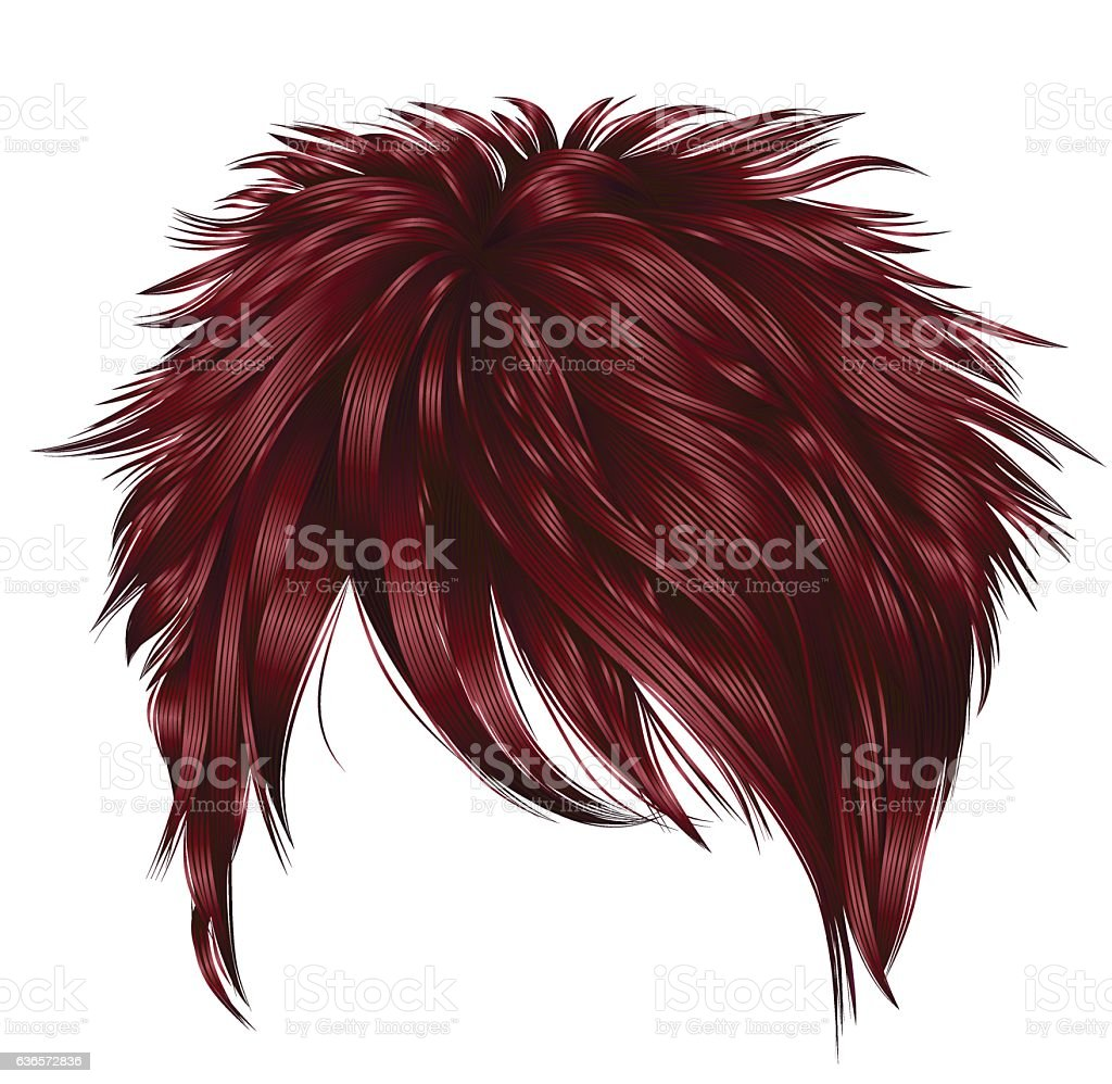 trendy  woman short  hairs  fringe  . dark  red   color .   beauty style . vector art illustration