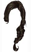 trendy women hairs  pigtail . braid plait .  fashion beauty style . realistic  3d .