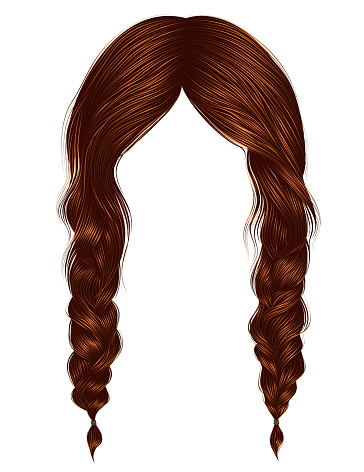 trendy women hairs Red colour .two plaits .  fashion beauty style .