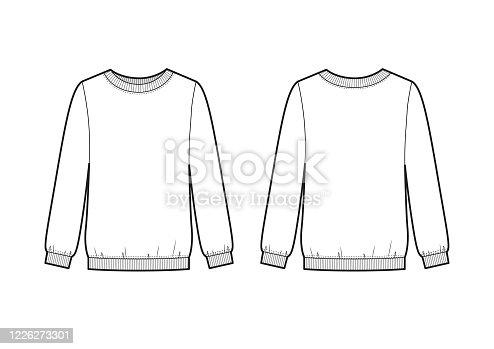 Trendy women sweatshirt. Vector sweatshirt template.