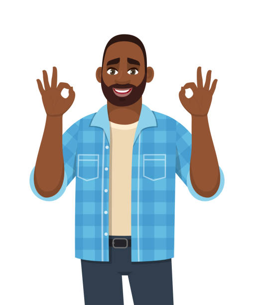 Trendy young African man showing okay, cool gesture sign. Successful black person making OK, good symbol with fingers. Male character design illustration. Modern lifestyle in vector cartoon. Trendy young African man showing okay, cool gesture sign. Successful black person making OK, good symbol with fingers. Male character design illustration. Modern lifestyle in vector cartoon. suave stock illustrations