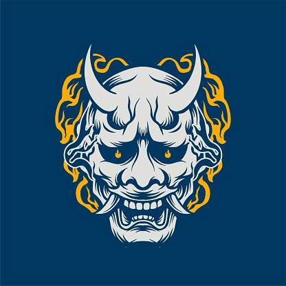 Trendy, Youthful Traditional Japanese Oni Mask Tattoo T-shirt Lifestyle Design Branding Identity Illustration