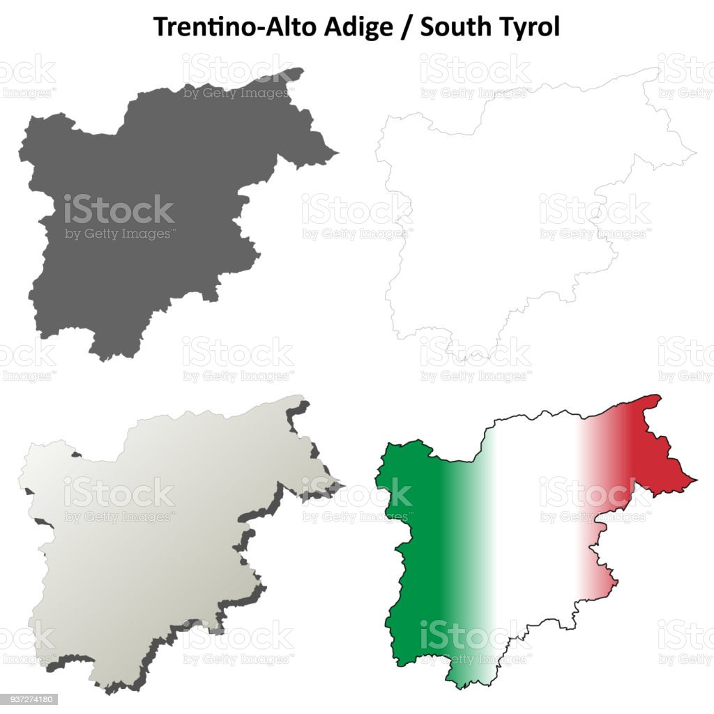 Trentinoalto Adige Blank Outline Map Set Stock Vector Art More