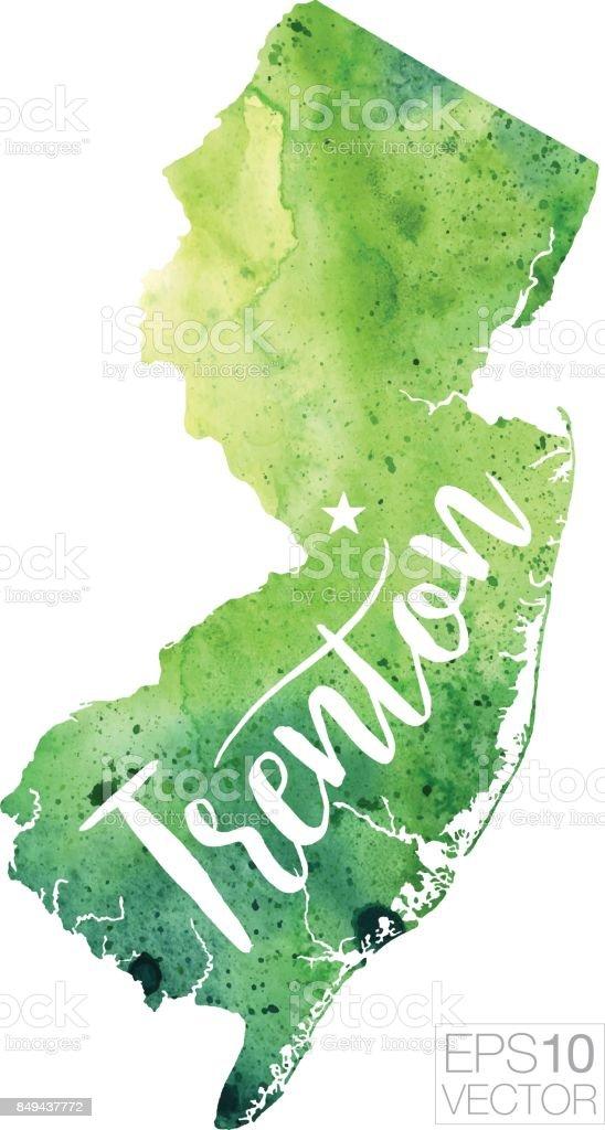 Trenton New Jersey Usa Vector Watercolor Map Stock Vector Art More