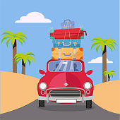 Treveling by red car with pile of luggage bags on roof near beach with palms. Summer tourism, travel, trip. Flat cartoon vector illustration. Car front View With stack Of suitcases.