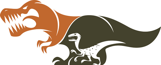 t-rex and velociraptor silhouette