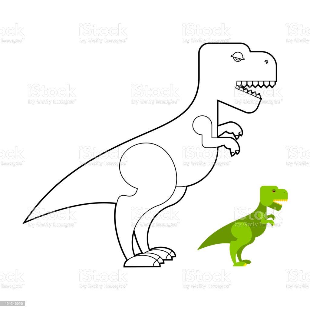 Ilustración De Trex Dinosaur Libro Para Colorear Miedo