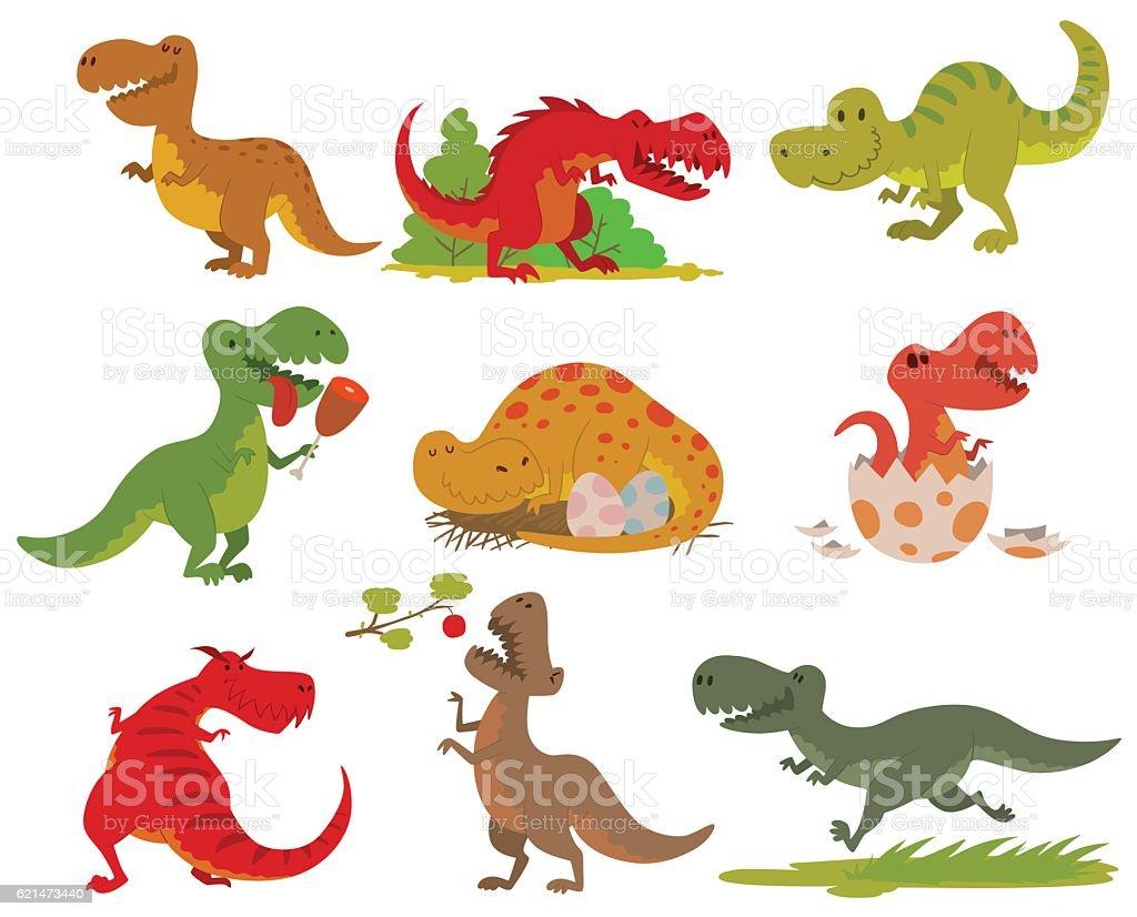 T-rex dinosaur vector set. - ilustração de arte em vetor