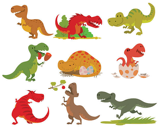t-rex dinosaur vector set. - dinosaur stock illustrations, clip art, cartoons, & icons