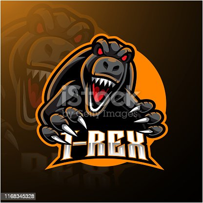 Illustration of T-rex esport mascot symbol design