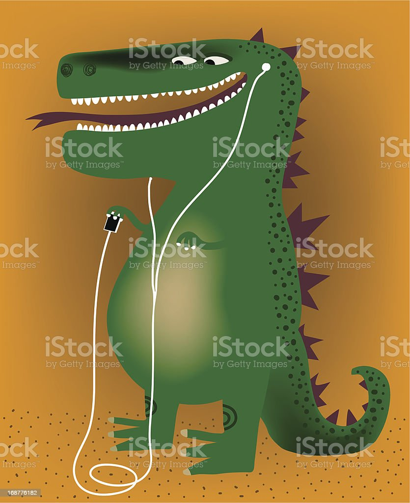 T-Rex listening music royalty-free stock vector art