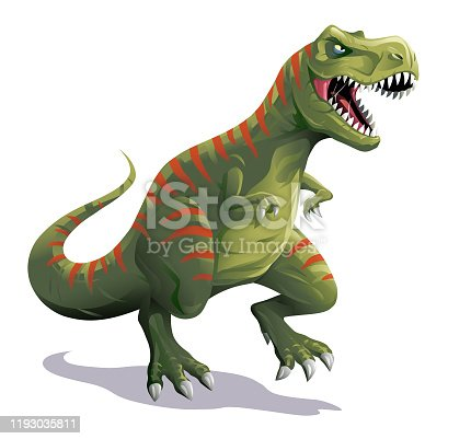 Vector illustration of an angry green Tyrannosaurus Rex with red stripes walking and roaring, isolated on white.