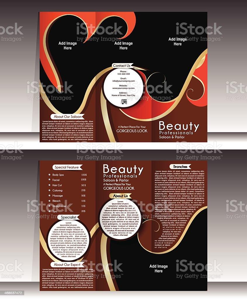 Dreifach Gefaltete Broschüre Vorlage Schönheitssalon Vektor ...