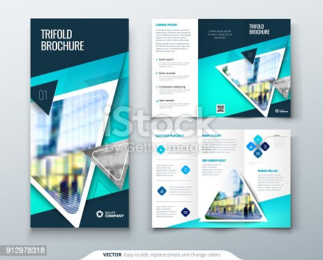 Tri Fold Brochure Design Blue Template For Tri Fold Flyer Layout