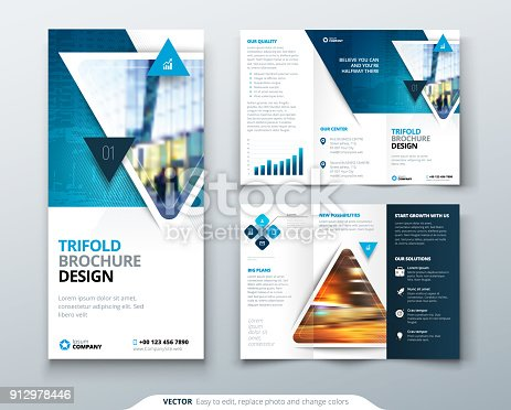 Tri Fold Brochure Design Blue Template For Tri Fold Flyer Layout