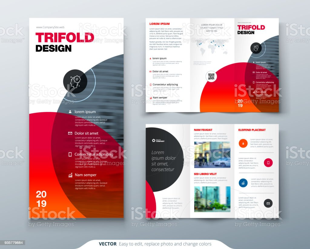 tri fold brochure design business template for tri fold flyer layout with modern circle - 3 Fold Brochure Design Templates