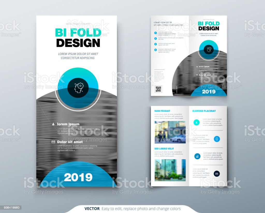 tri fold brochure design business template for tri fold flyer with modern circle photo and