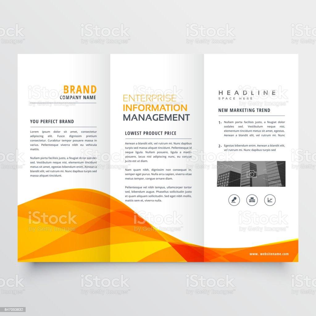 tri fold brochure design corporate business template with orange wavy shape vector art illustration