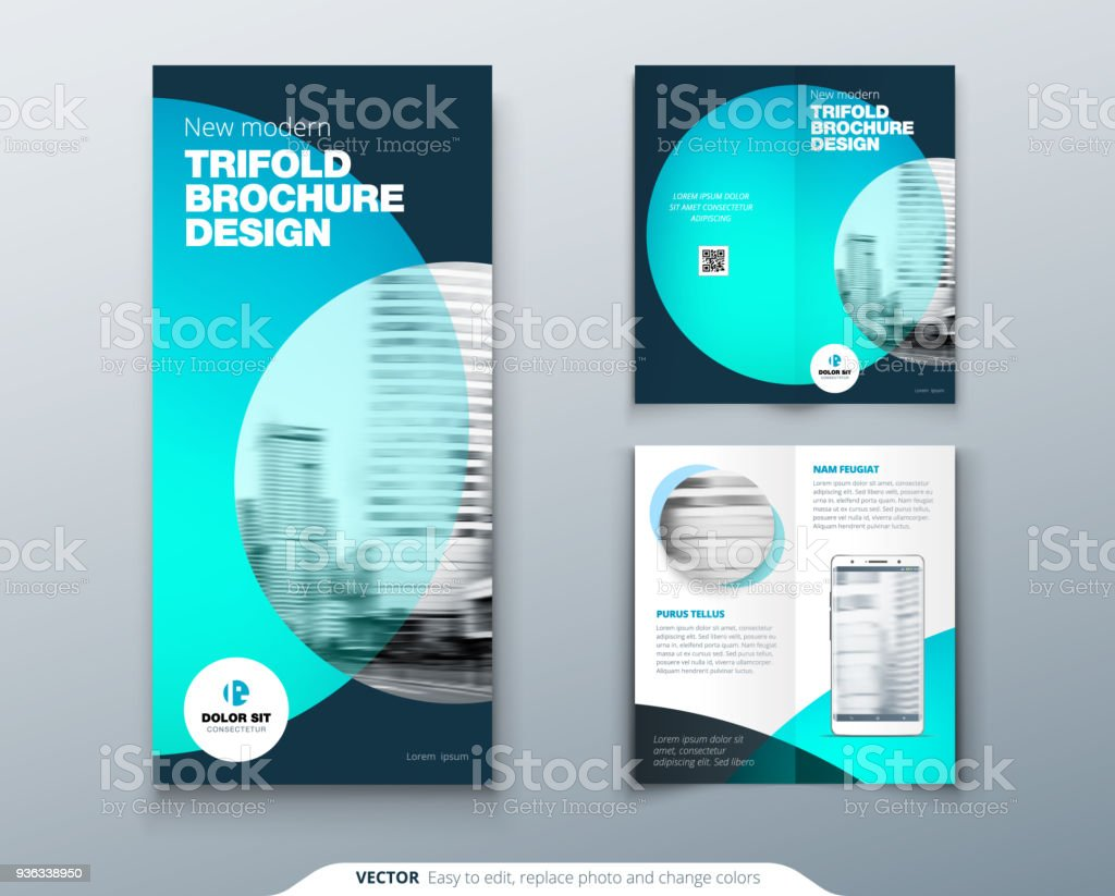 tri fold brochure design teal business template for tri fold flyer