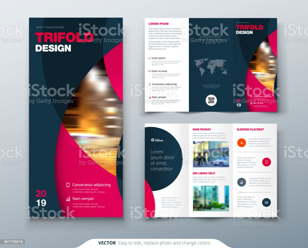 tri fold brochure design with circle corporate business template for