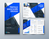 istock Tri fold brochure design with line shapes, corporate business template for tri fold flyer. Creative concept folded flyer or brochure. 1212743632