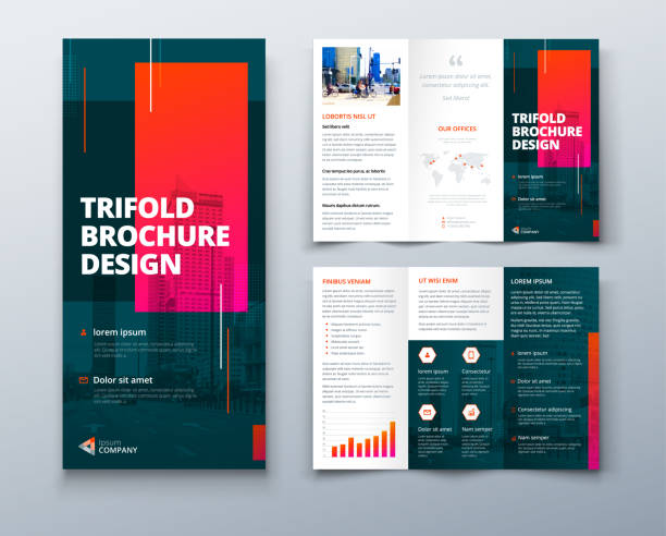 Tri fold brochure design with line shapes, corporate business template for tri fold flyer. Creative concept folded flyer or brochure. Tri fold brochure design with square shapes, corporate business template for tri fold flyer. Creative concept folded flyer or brochure brochure templates stock illustrations