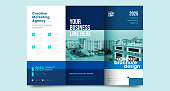 istock Tri fold brochure design with line shapes, corporate business template for tri fold flyer. 1327040394
