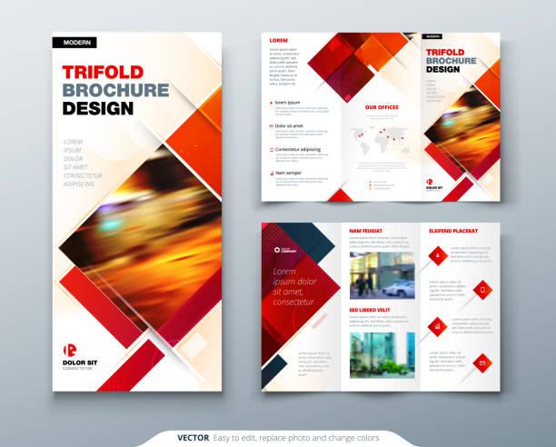 tri fold projekt broszury z kwadratowymi kształtami, szablon firmy dla trzykrotnie ulotki. kreatywna koncepcja złożona ulotka lub broszura. - broszura stock illustrations