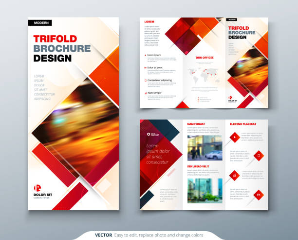 tri fold brochure design with square shapes, corporate business template for tri fold flyer. creative concept folded flyer or brochure. - składany stan stock illustrations