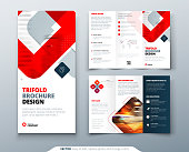 istock Tri fold brochure design with square shapes, corporate business template for tri fold flyer. Creative concept folded flyer or brochure. 1203253008