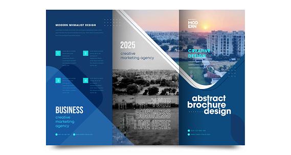 Tri fold Brochure Mock up Background abstract business Leaflet Flyer vector design presentation layout a4 size