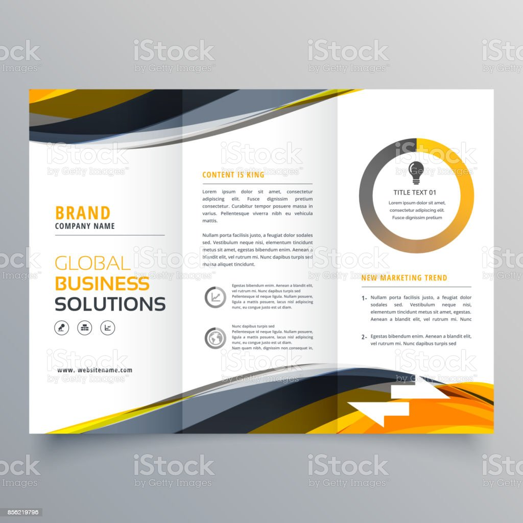 tri fold business brochure design template with wavy yellow black shapes vector art illustration