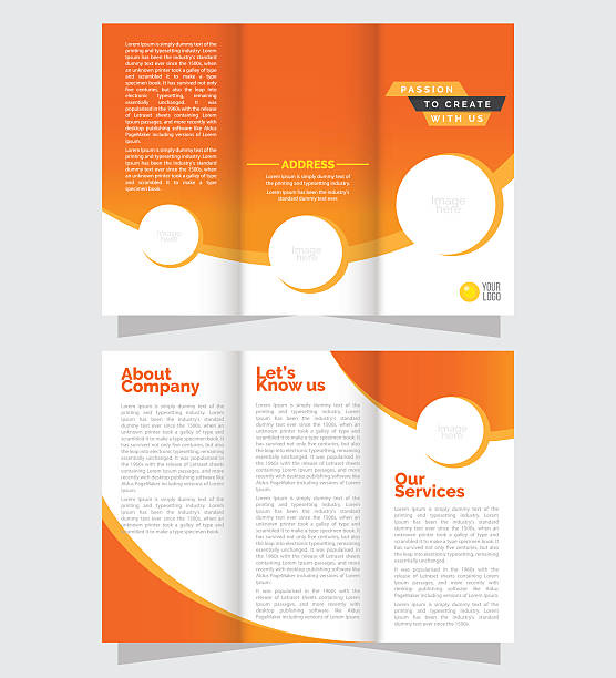 tri fold business brochure design - 접힌 stock illustrations