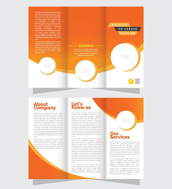 tri fold business brochure design - składany stan stock illustrations