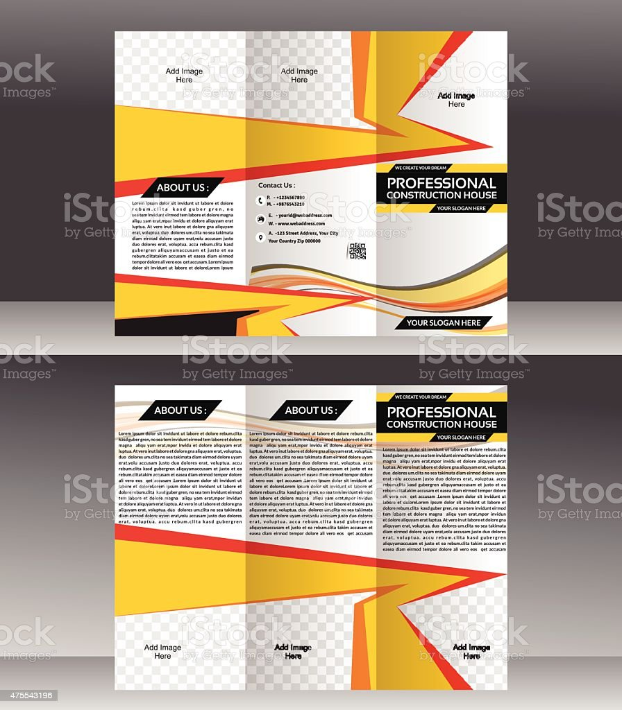Tri Fold Construction Brochure Template Design Vector Illustration