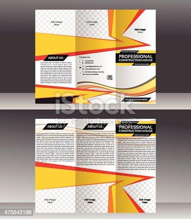 Tri Fold Construction Brochure Template Design Vector Illustration - Construction brochure templates