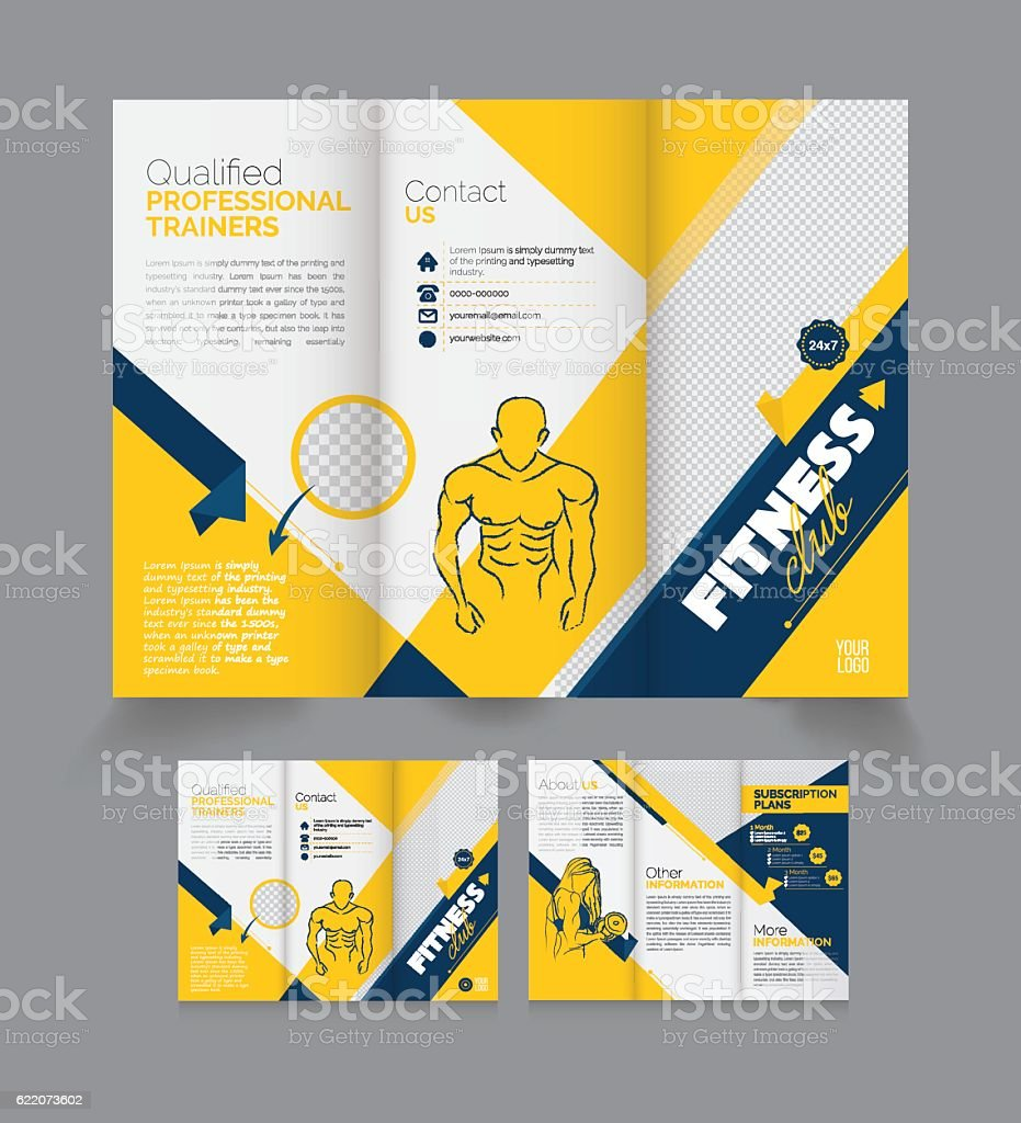 Tri fold fitness brochure design template stock vector art tri fold fitness brochure design template royalty free stock vector art pronofoot35fo Images