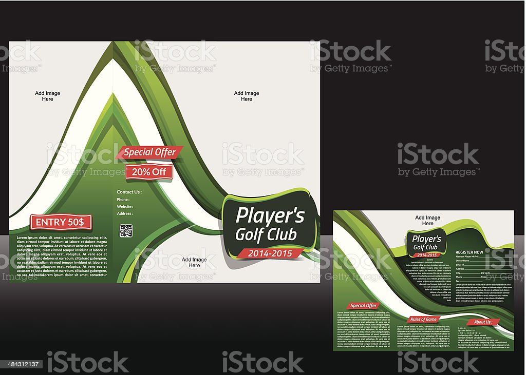 tri Fold Golf Brochure Design vector art illustration