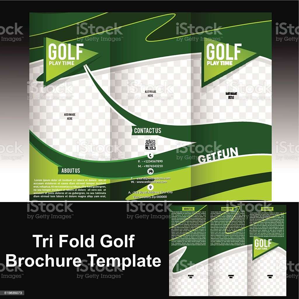 Tri Fold Golf Brochure Template Stock Vector Art More Images Of