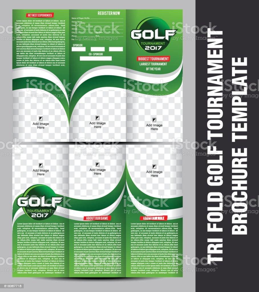 Tri Fold Golf Tournament Brochure Template Vector Illustration Stock