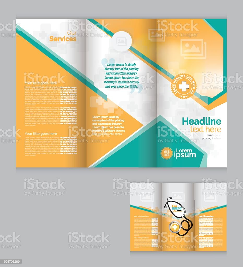 tri fold medical brochure design template stock vector art more