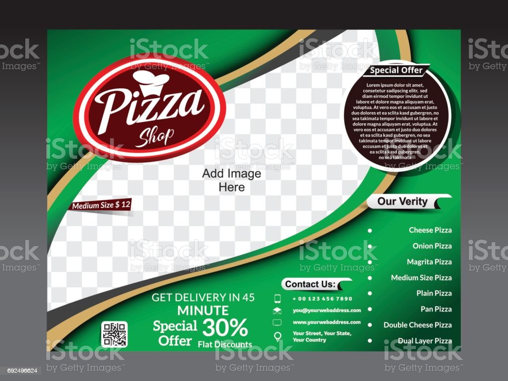 tri fold pizza store flyer template vector illustration stock vector