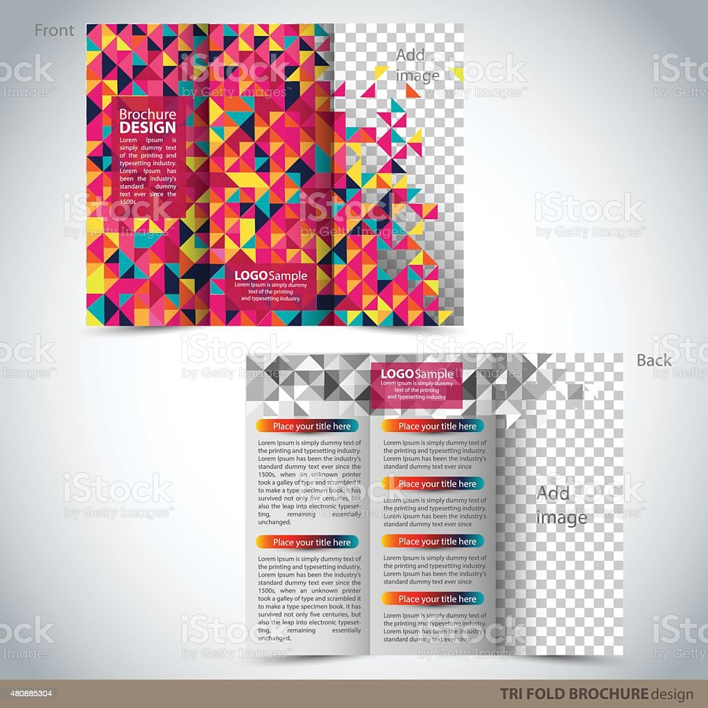 tri folder brochure leaflet mock up stock vector art more images