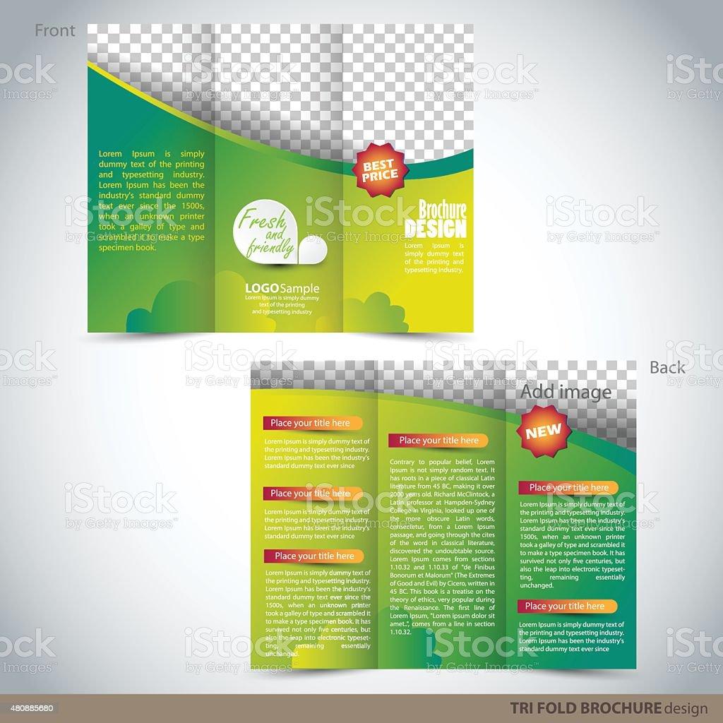 tri folder brochure leaflet mock up stock vector art more images